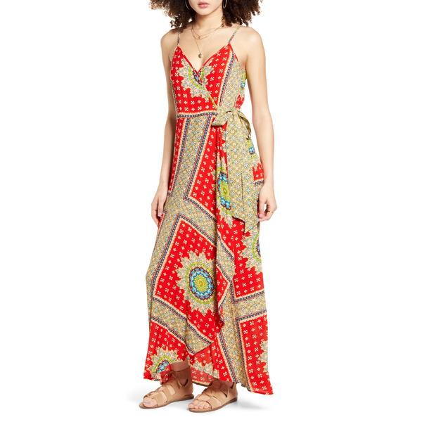 バンドオブジプシーズ レディース ワンピース トップス Band of Gypsies Vivian Maxi Wrap Dress Red/ Beige