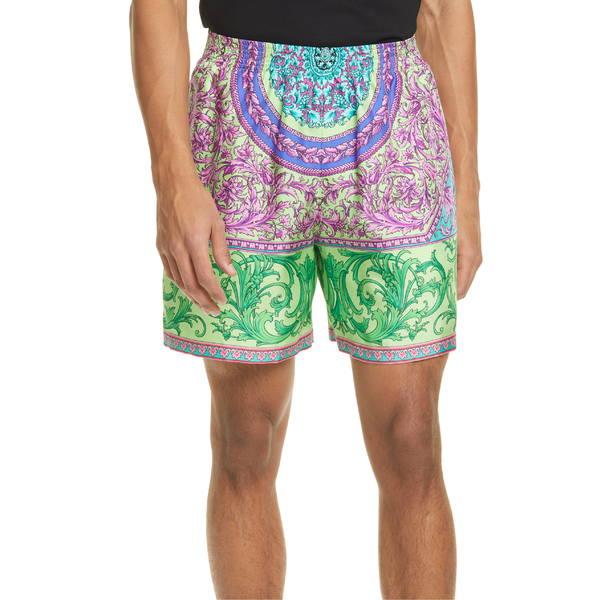 ヴェルサーチ メンズ カジュアルパンツ ボトムス Versace Print Silk Shorts Green