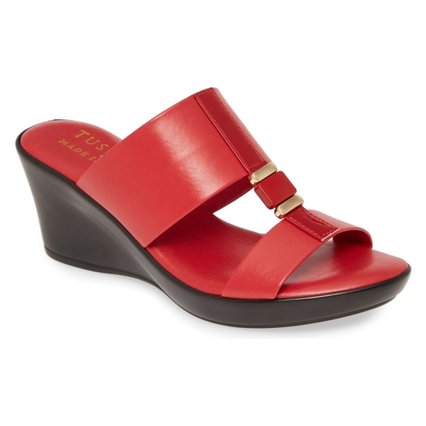 タスカニーバイースト レディース サンダル シューズ TUSCANY by Easy Street Benita Wedge Slide Sandal (Women) Red Faux Leather