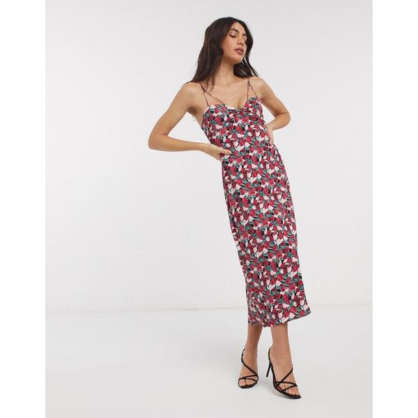 ファッションモンキー レディース ワンピース トップス Fashion Union midi dress in tulip print Black tulip