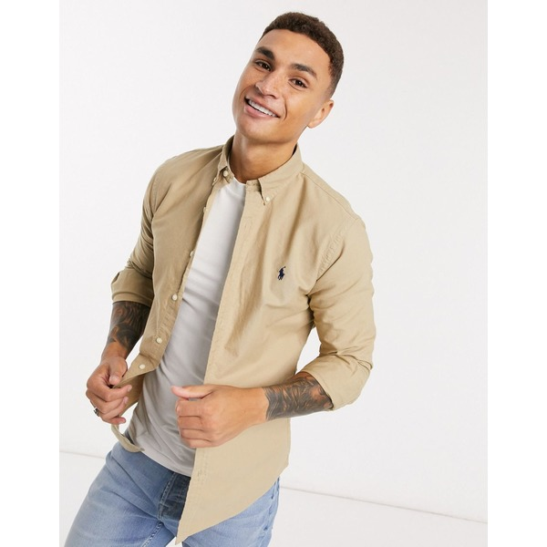 ラルフローレン メンズ シャツ トップス Polo Ralph Lauren player logo garment dye oxford shirt slim fit buttondown in tan Tan