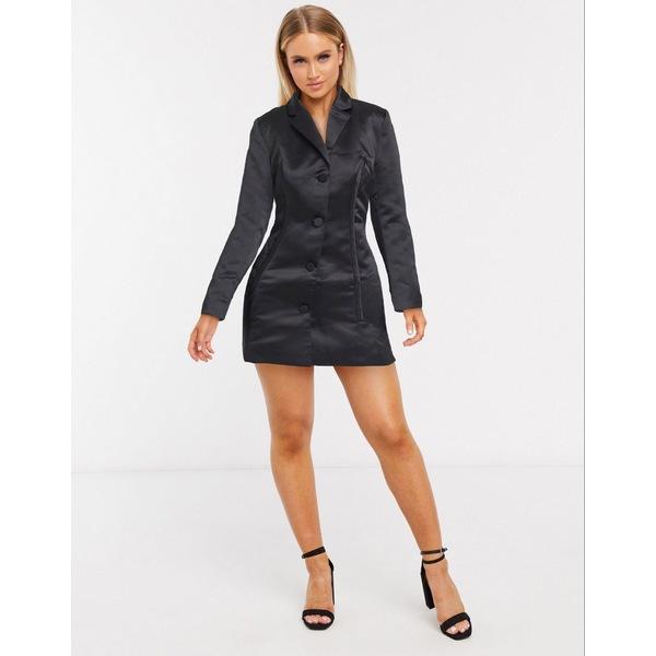 エイソス レディース ジャケット&ブルゾン アウター ASOS DESIGN corset detailed satin jacket in black Black