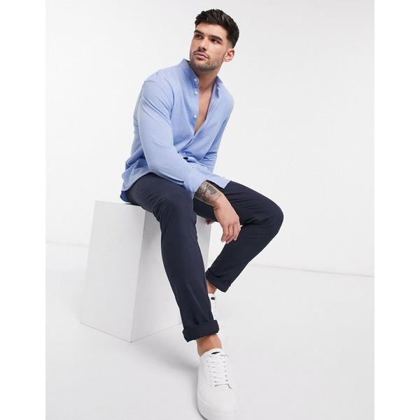 セレクテッドオム メンズ シャツ トップス Selected Homme grandad collar jersey shirt in blue Light blue