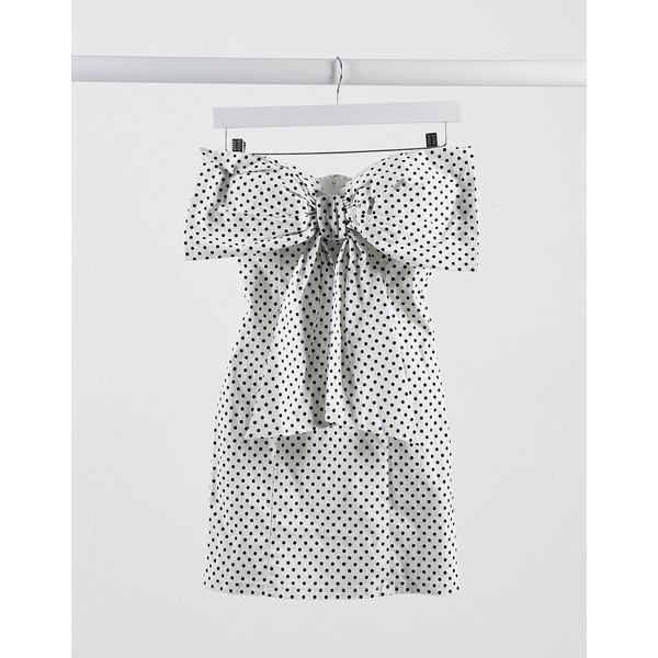 レア レディース ワンピース トップス Rare London bow detail mini dress in polka dot White