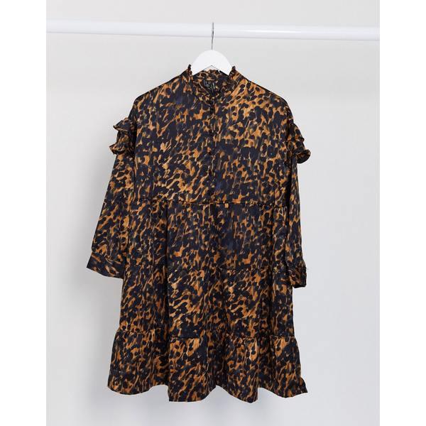 ヴェロモーダ レディース ワンピース トップス Vero Moda ruffle shoulder smock dress in print Print