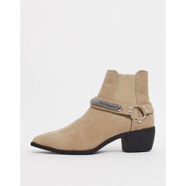 エイソス メンズ ブーツ&レインブーツ シューズ ASOS DESIGN stacked heel western chelsea boots in stone faux suede with chain detail and angular sole Stone