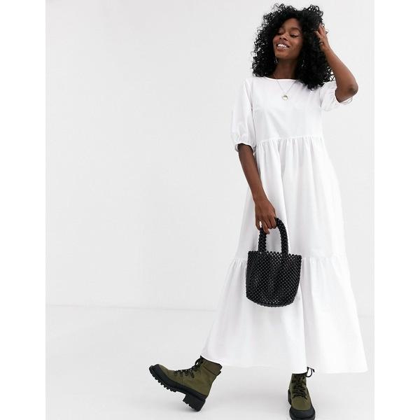 エイソス レディース ワンピース トップス ASOS DESIGN tiered cotton poplin smock midi dress in white White