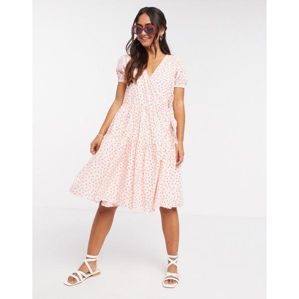 デイジーストリート レディース ワンピース トップス Daisy Street midi wrap dress with tiered skirt in pretty floral Pink white floral