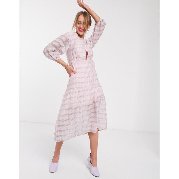ロストインク レディース ワンピース トップス Lost Ink drop waist midi dress in check Pink check