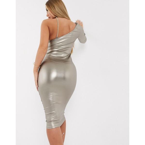 アックスパリ レディース ワンピース トップス AX Paris metallic one shoulder midi dress in gold Gray