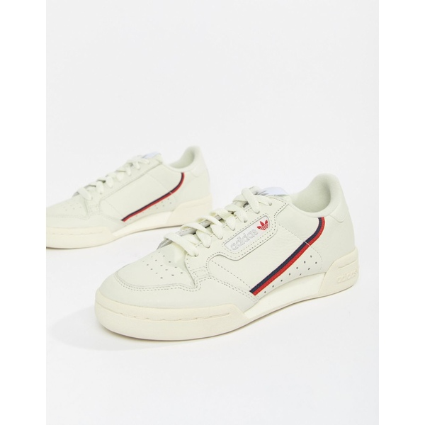 アディダスオリジナルス レディース スニーカー シューズ adidas Originals Continental 80's Sneakers In Off White And Red Off white