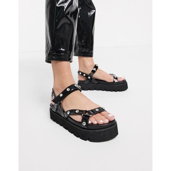 シミシューズ レディース サンダル シューズ Simmi London Izzie chunky embellished sporty sandals in black Black patent