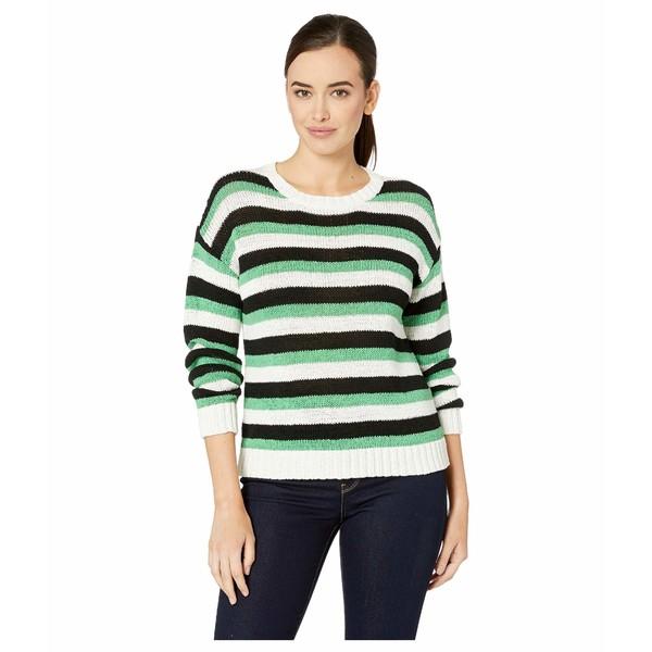 ヴィンスカムート レディース ニット&セーター アウター Long Sleeve Stripe Color Block Crew Neck Sweater Pearl Ivory