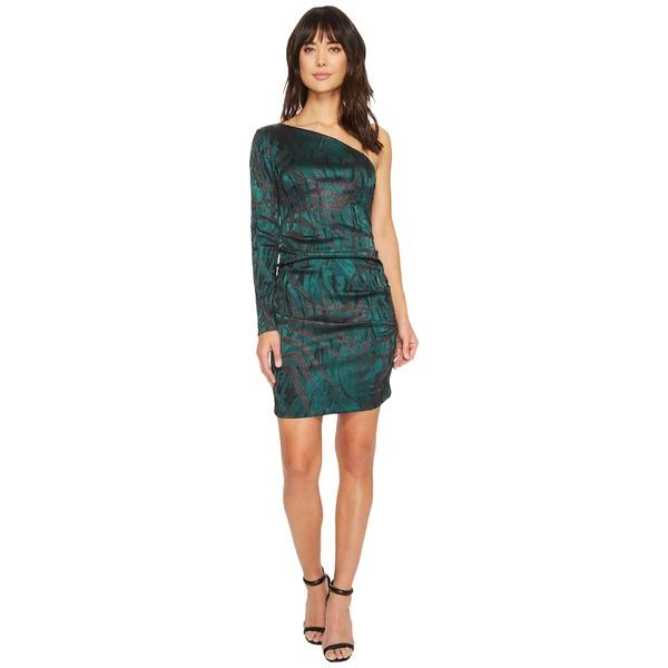 ニコルミラー レディース ワンピース トップス Stroked Lurex One Shoulder Dress Green Multi