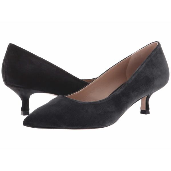 スチュアート ワイツマン レディース ヒール シューズ Tippi 45 Kitten Heel Black Sleek Velvet