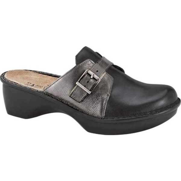 ナオト レディース スニーカー シューズ Avignon Clog Jet Black Leather/Crinkle Steel Leather