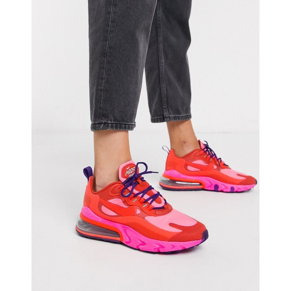 ナイキ レディース スニーカー シューズ Nike red and pink Air Max 270 React sneakers Mystic red