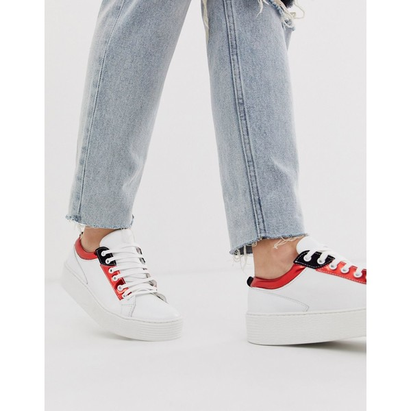 ヴェロモーダ レディース スニーカー シューズ Vero Moda real leather metallic trim sneakers Snow white w red
