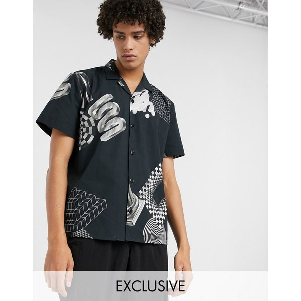 ノーク メンズ シャツ トップス Noak x Will Harvey all over print geo shirt in black Black