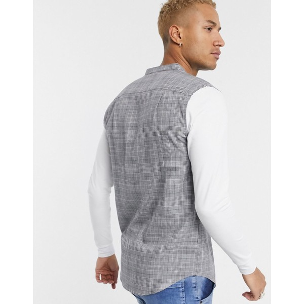 シックシルク メンズ シャツ トップス SikSilk prince of wales check grandad collar shirt Gray