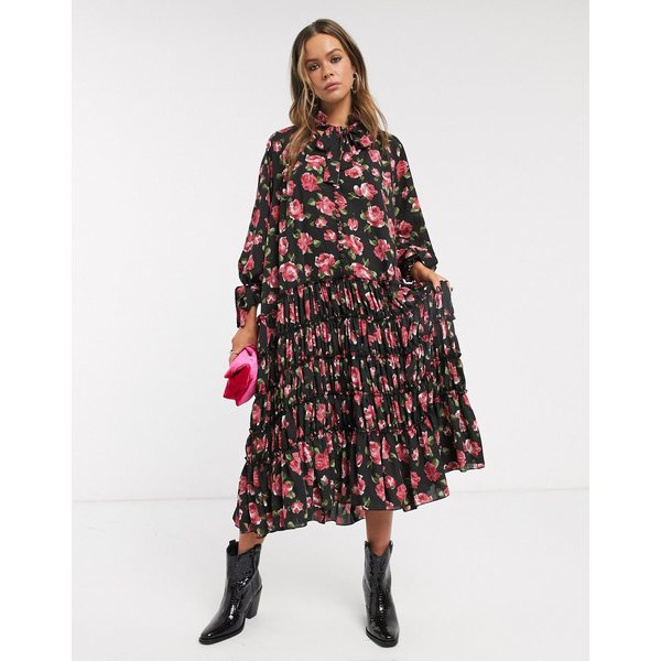 シスタージュン レディース ワンピース トップス Sister Jane midi smock dress with pleated skirt in rose print Black floral