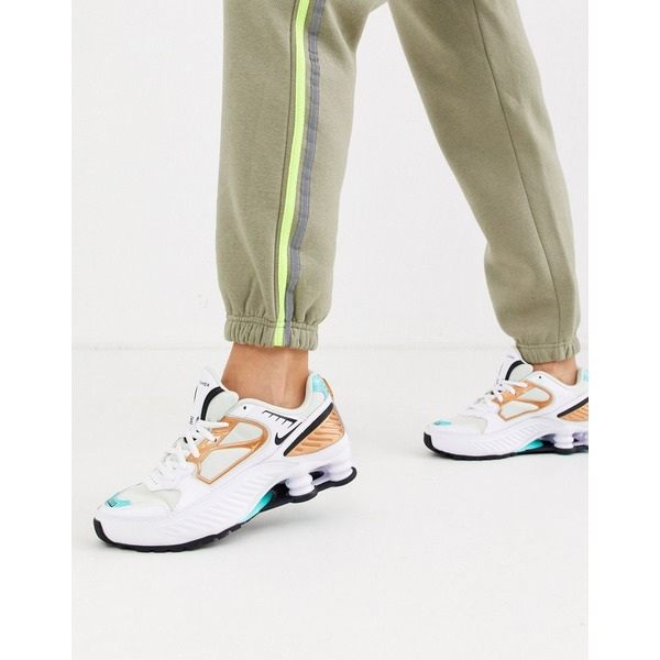 ナイキ レディース スニーカー シューズ Nike white and Aqua Shox Enigma 9000 sneakers White/black