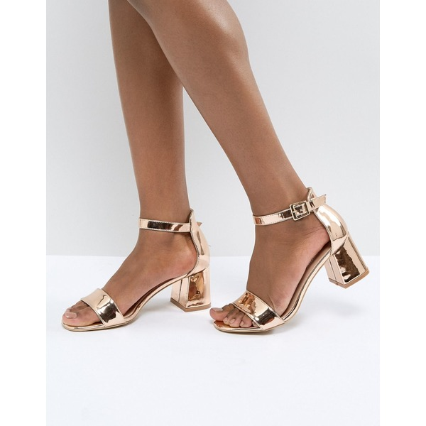 グラマラス レディース サンダル シューズ Glamorous Barely There Mid Heeled Block Sandal in Rose Gold Rose gold