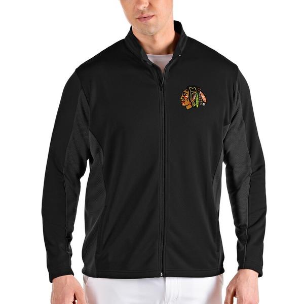 アンティグア メンズ ジャケット&ブルゾン アウター Chicago Blackhawks Antigua Passage Full-Zip Jacket Black/Gray