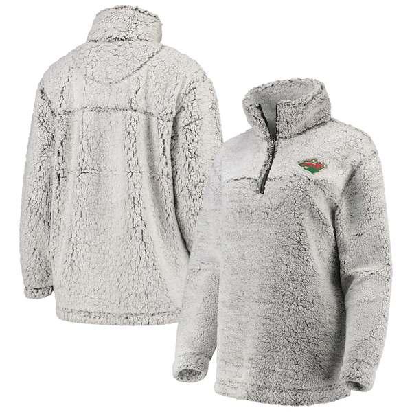 カールバンクス レディース ジャケット&ブルゾン アウター Minnesota Wild G-III 4Her by Carl Banks Women's Sherpa Quarter-Zip Pullover Jacket Gray