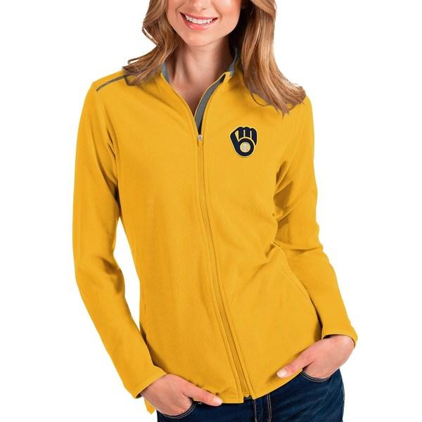 アンティグア レディース シャツ トップス Milwaukee Brewers Antigua Women's Glacier Full-Zip Jacket Gold/Charcoal
