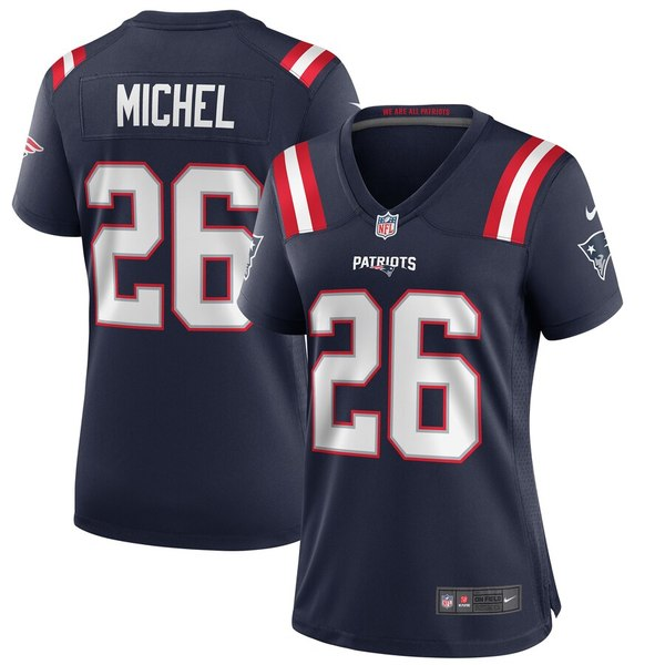 ナイキ レディース シャツ トップス Sony Michel New England Patriots Nike Women's Game Jersey Navy