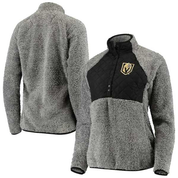 アンティグア レディース ジャケット&ブルゾン アウター Vegas Golden Knights Antigua Women's Surround Sherpa Quarter-Snap Pullover Jacket Black/Heathered Gray