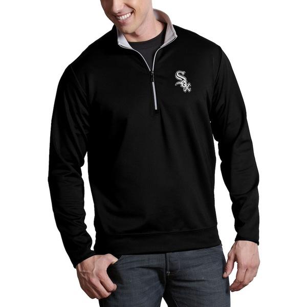 アンティグア メンズ ジャケット&ブルゾン アウター Chicago White Sox Antigua Leader Quarter-Zip Pullover Jacket Black