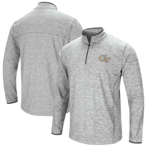 コロシアム メンズ ジャケット&ブルゾン アウター Georgia Tech Yellow Jackets Colosseum Spring Quarter-Zip Pullover Windshirt Jacket Heathered Gray