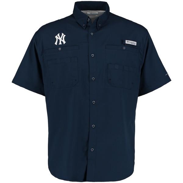 コロンビア メンズ シャツ トップス New York Yankees Columbia Tamiami Button-Down Shirt Navy
