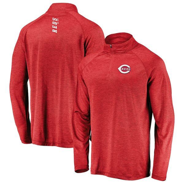 マジェスティック メンズ ジャケット&ブルゾン アウター Cincinnati Reds Majestic Contenders Welcome Quarter-Zip Mock Neck Pullover Jacket Red