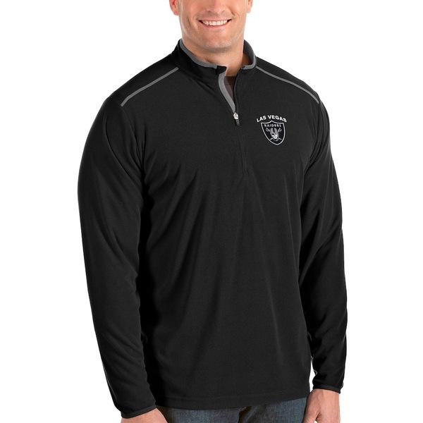 アンティグア メンズ ジャケット&ブルゾン アウター Las Vegas Raiders Antigua Big & Tall Glacier Quarter-Zip Pullover Jacket Black