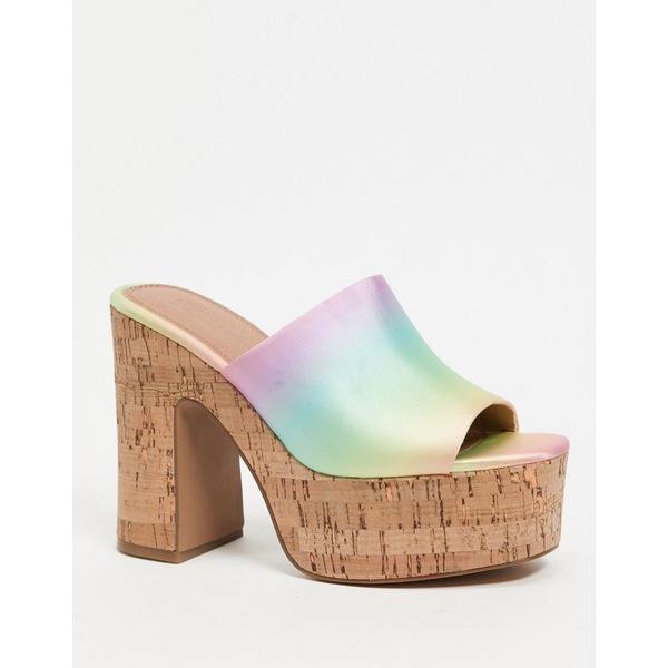 エイソス レディース サンダル シューズ ASOS DESIGN Naomi heeled mules in rainbow Rainbow