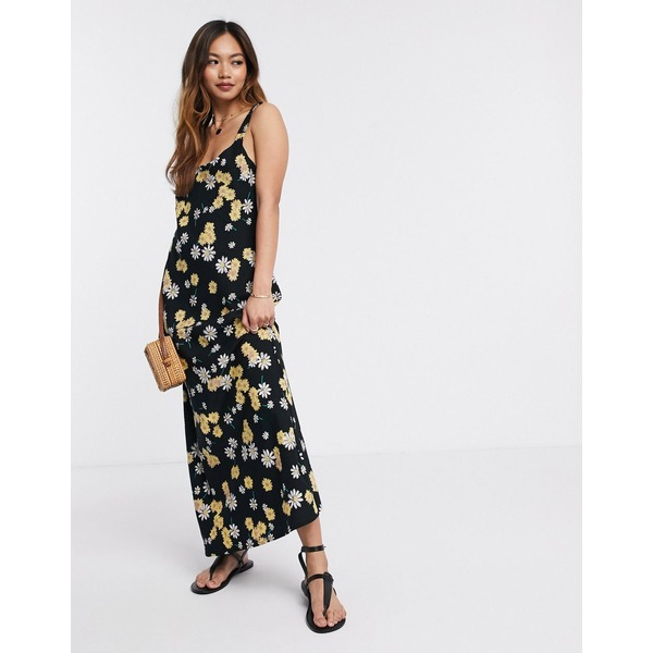 エイソス レディース ワンピース トップス ASOS DESIGN linen cami maxi dress in ditsy floral print Black based floral