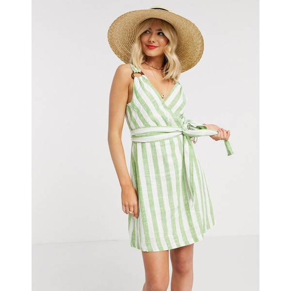 ジリ レディース ワンピース トップス Gilli wrap front mini dress with tie waist detail in green stripe Light green