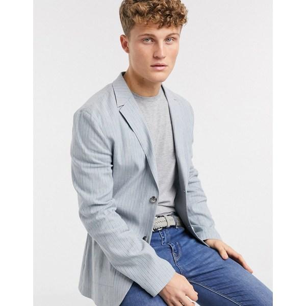 エイソス メンズ ジャケット&ブルゾン アウター ASOS DESIGN skinny casual linen blazer in light blue stripe Blue