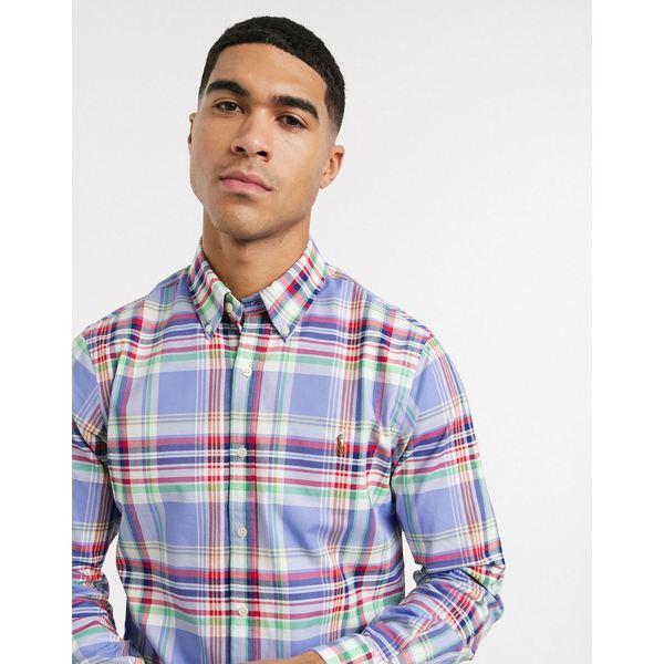 ラルフローレン メンズ シャツ トップス Polo Ralph Lauren check stretch oxford shirt slim fit in blue/red multi Blue
