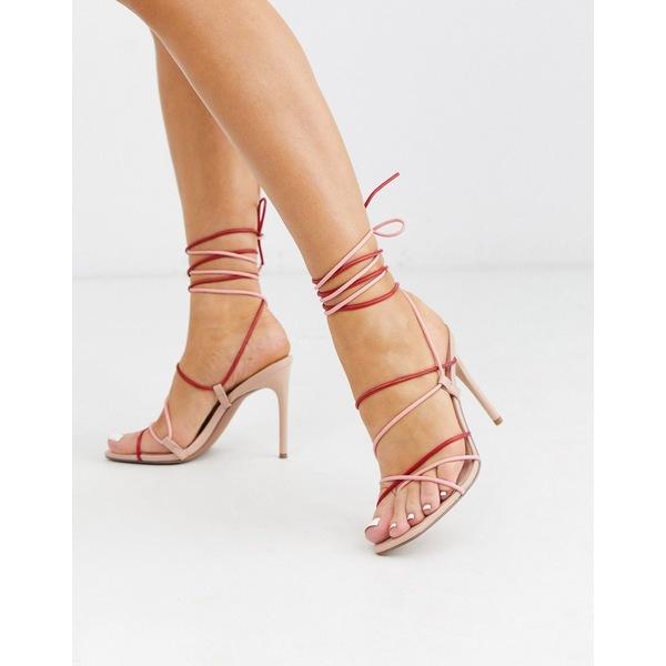エイソス レディース ヒール シューズ ASOS DESIGN Non Stop strappy tie leg heeled sandals in red and pink Pink/red mix