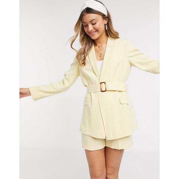 ミスセルフフリッジ レディース ジャケット&ブルゾン アウター Miss Selfridge linen blazer in lemon two-piece Lemon