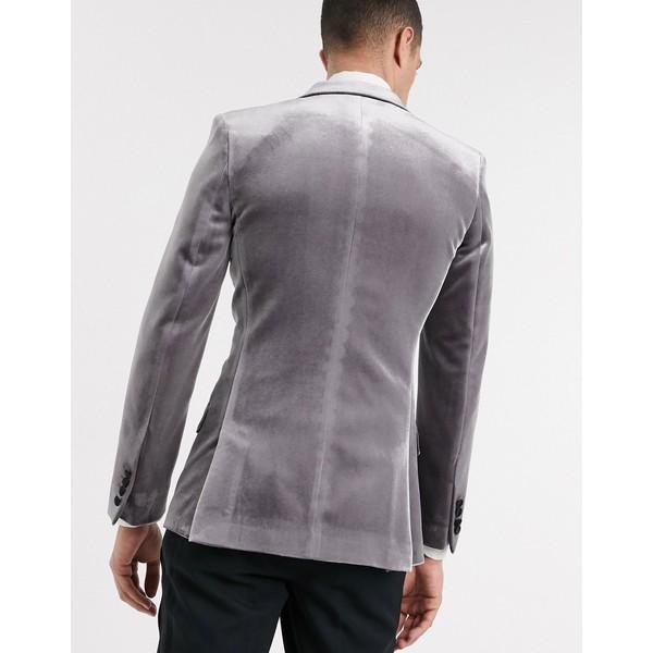 エイソス メンズ ジャケット&ブルゾン アウター ASOS DESIGN super skinny velvet tuxedo blazer in gray Gray