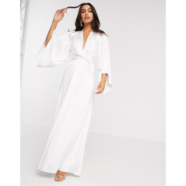 エイソス レディース ワンピース トップス ASOS EDITION extreme cape sleeve maxi wedding dress in ivory Ivory