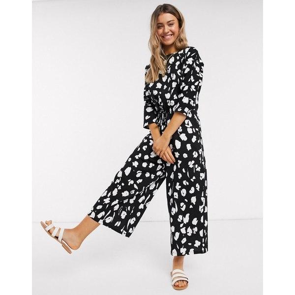 エイソス レディース ワンピース トップス ASOS DESIGN lounge tie waist casual jumpsuit in mono animal print Mono animal
