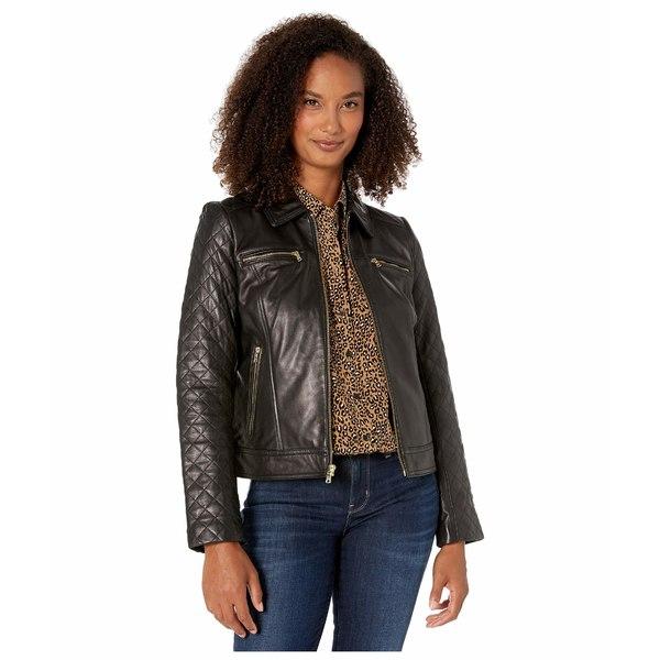 コールハーン レディース コート アウター Diamond Quilt Leather Jacket Black