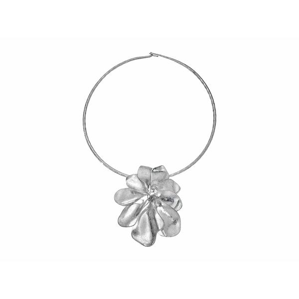 ロバートリーモリス レディース ネックレス・チョーカー・ペンダントトップ アクセサリー Flower Pendant Round Wire Necklace Soft Silver