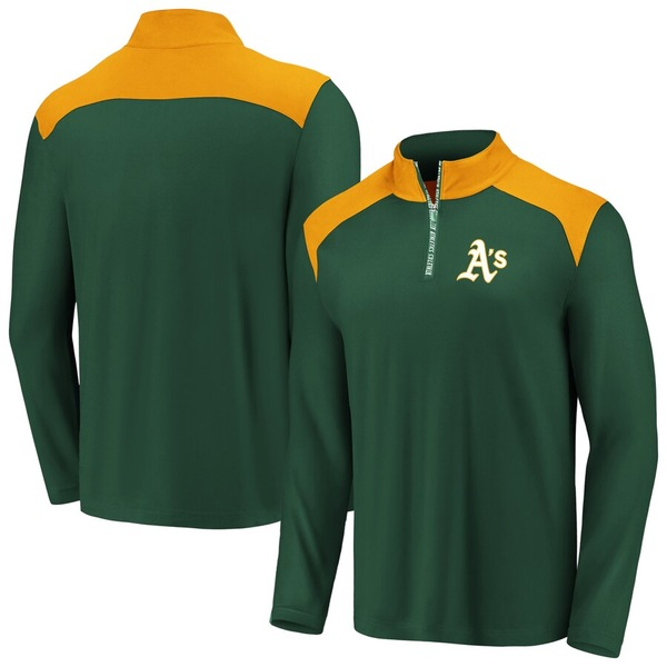 ファナティクス メンズ ジャケット&ブルゾン アウター Oakland Athletics Fanatics Branded Iconic Clutch Quarter-Zip Pullover Jacket Green/Gold